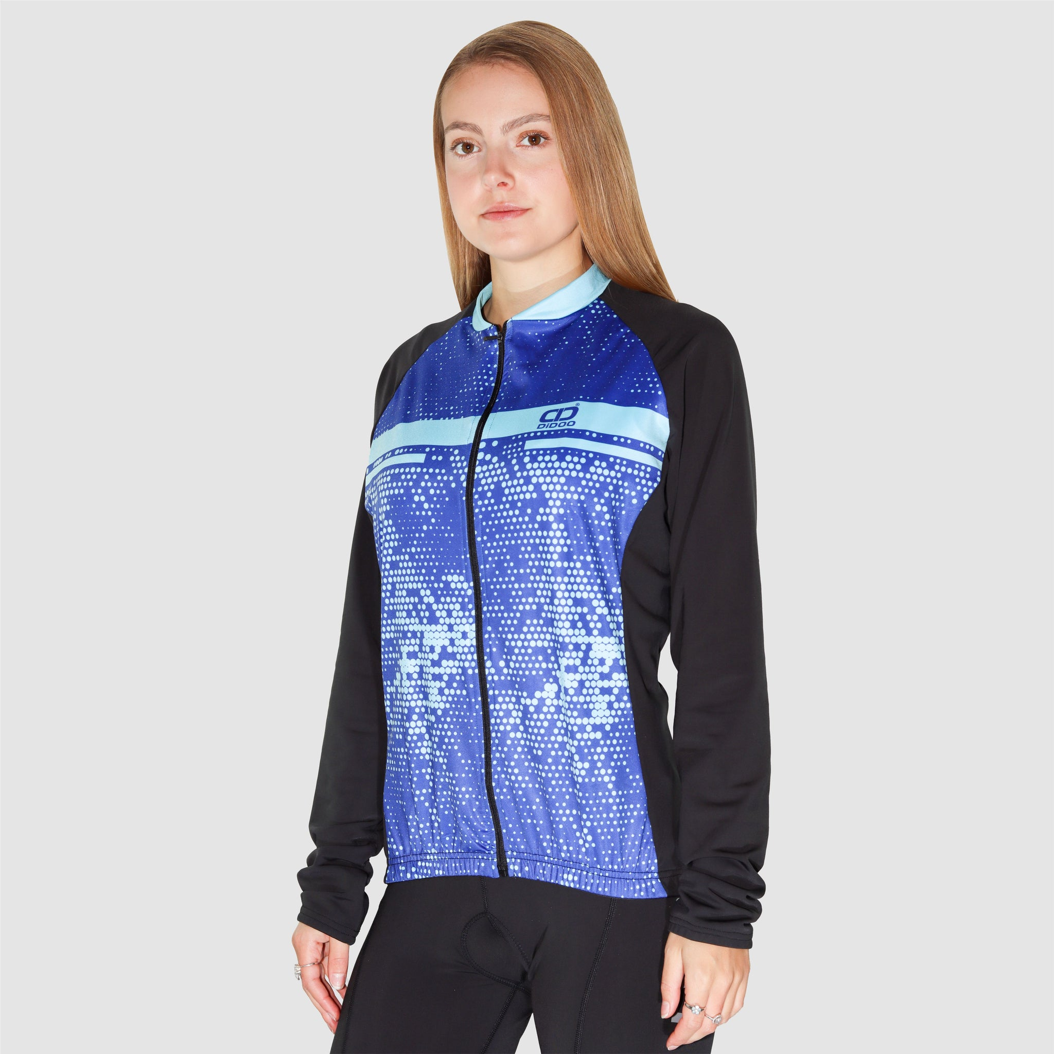 DiDOO Women Pro long sleeve winter cycling jersey Black and Blue