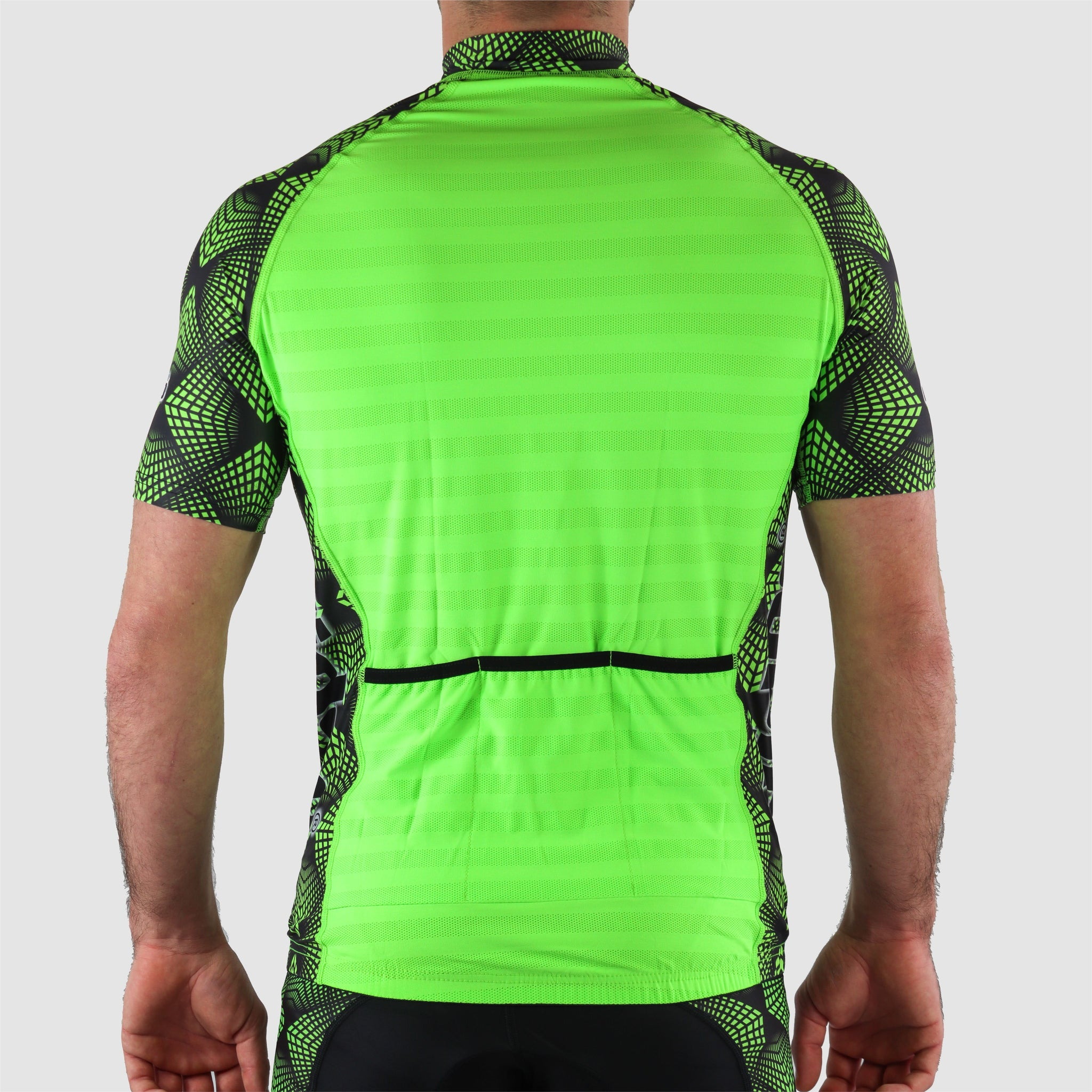 DiDOO Men's Lightweight Half Zip Multi Pockets Short Sleeve Cycling Jersey Fluorescent Green