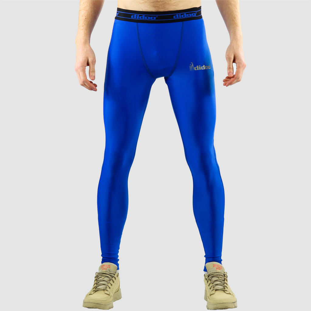 Royal blue DiDOO Men's Compression Base Layer Leggings
