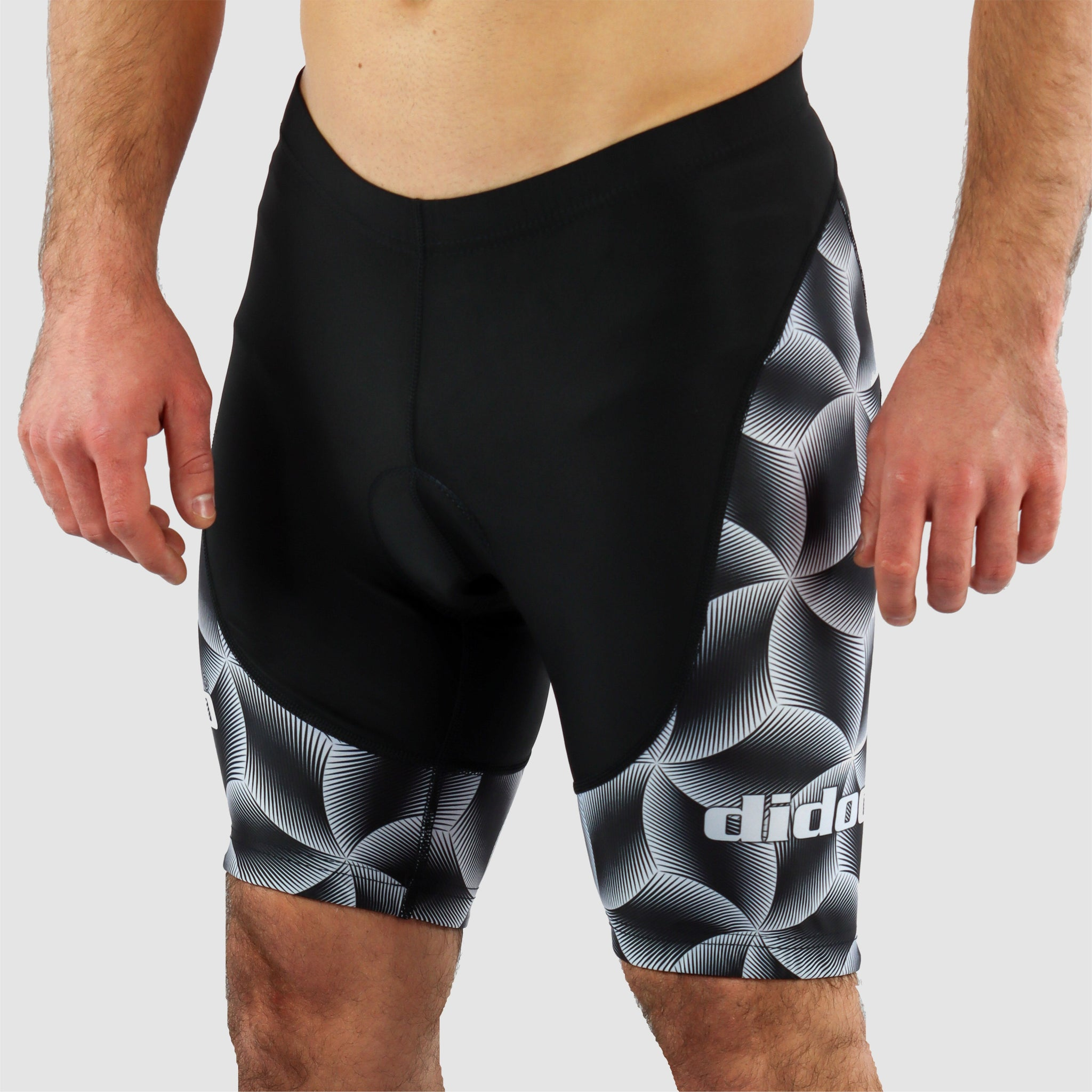 DiDOO Men's Classic Quick Dry Padded Cycling Shorts Black and White
