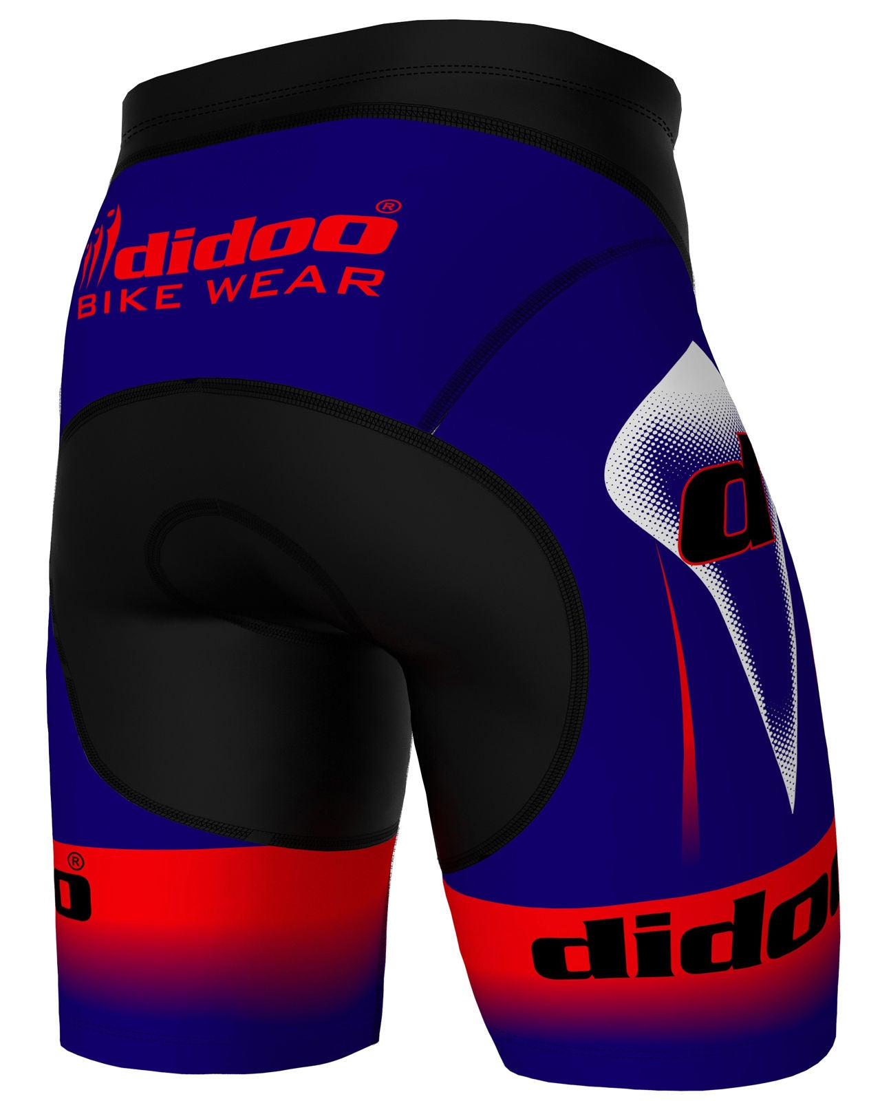 Back of Blue Red and Black Padded Cycling Shorts