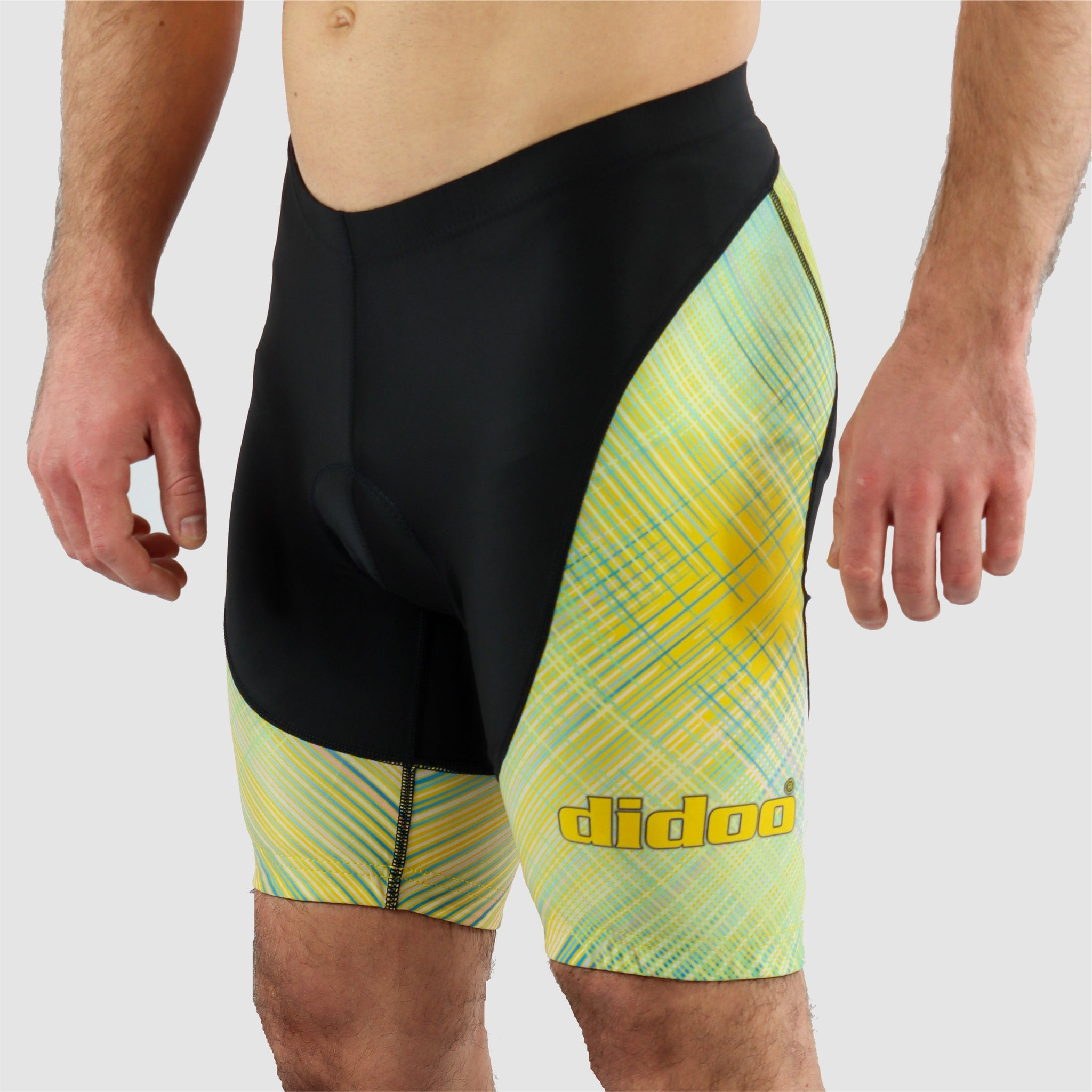 DiDOO Men's Classic Quick Dry Padded Cycling Shorts Black and Yellow