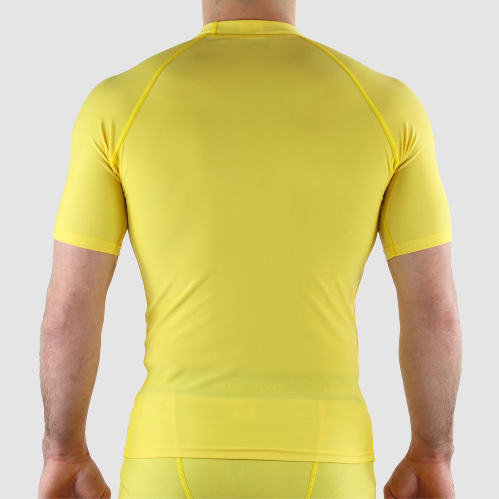 Yellow DiDOO Men's Compression Base Layer Short Sleeve Tops