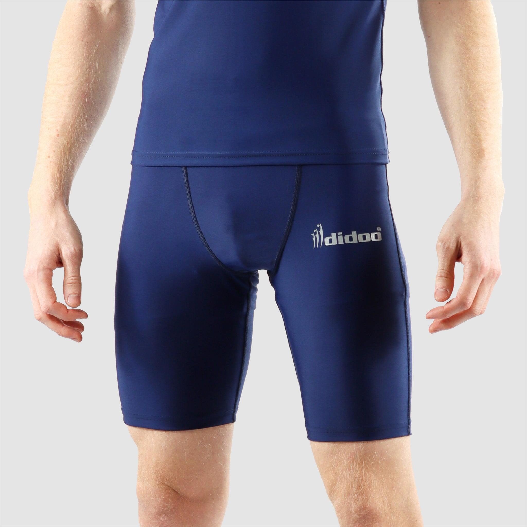 Navy Blue DiDOO Men's Compression Base Layer Shorts