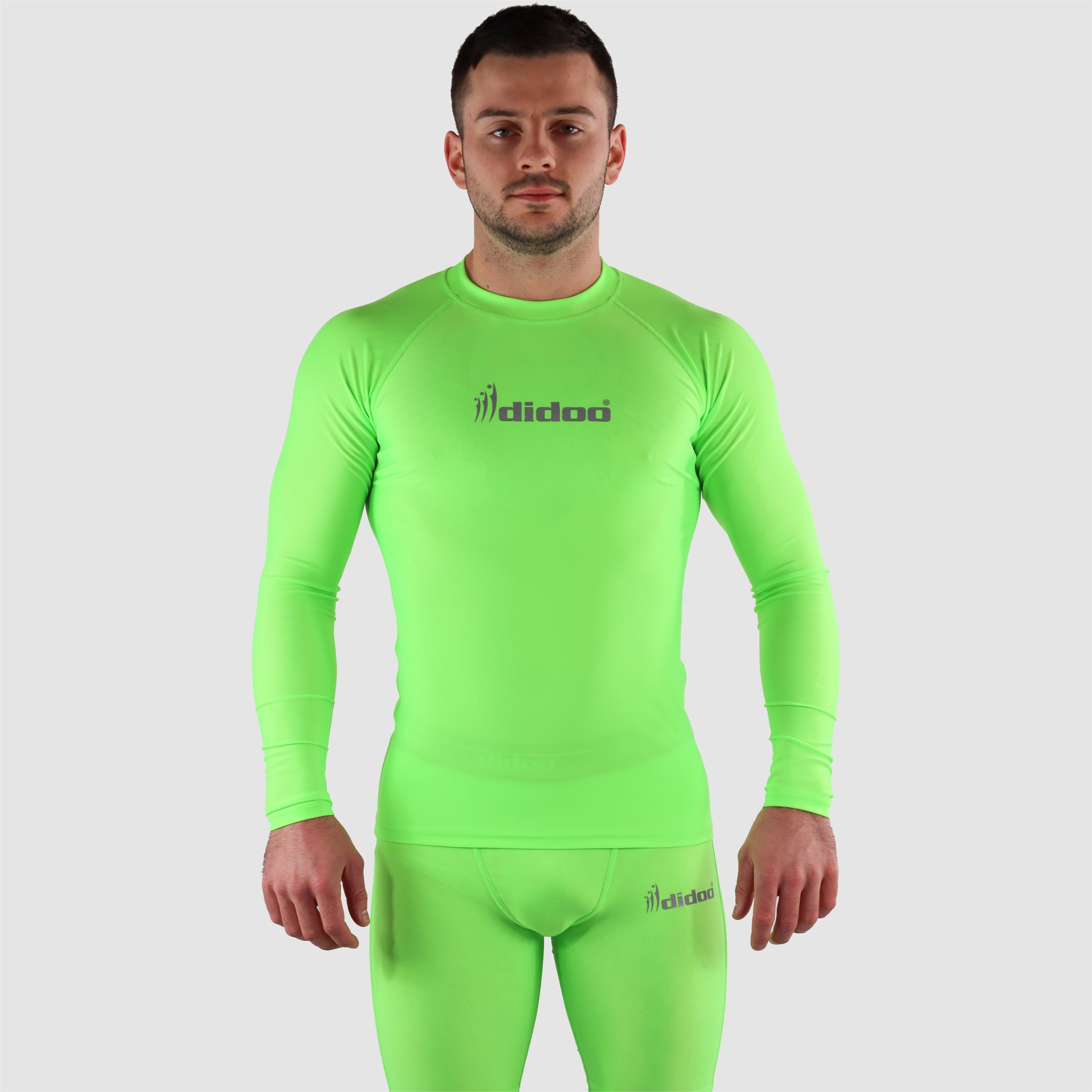 Fluorescent Green DiDOO Men's Compression Baselayer Top Long Sleeve