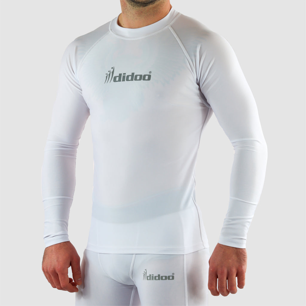 White DiDOO Men's Compression Baselayer Top Long Sleeve