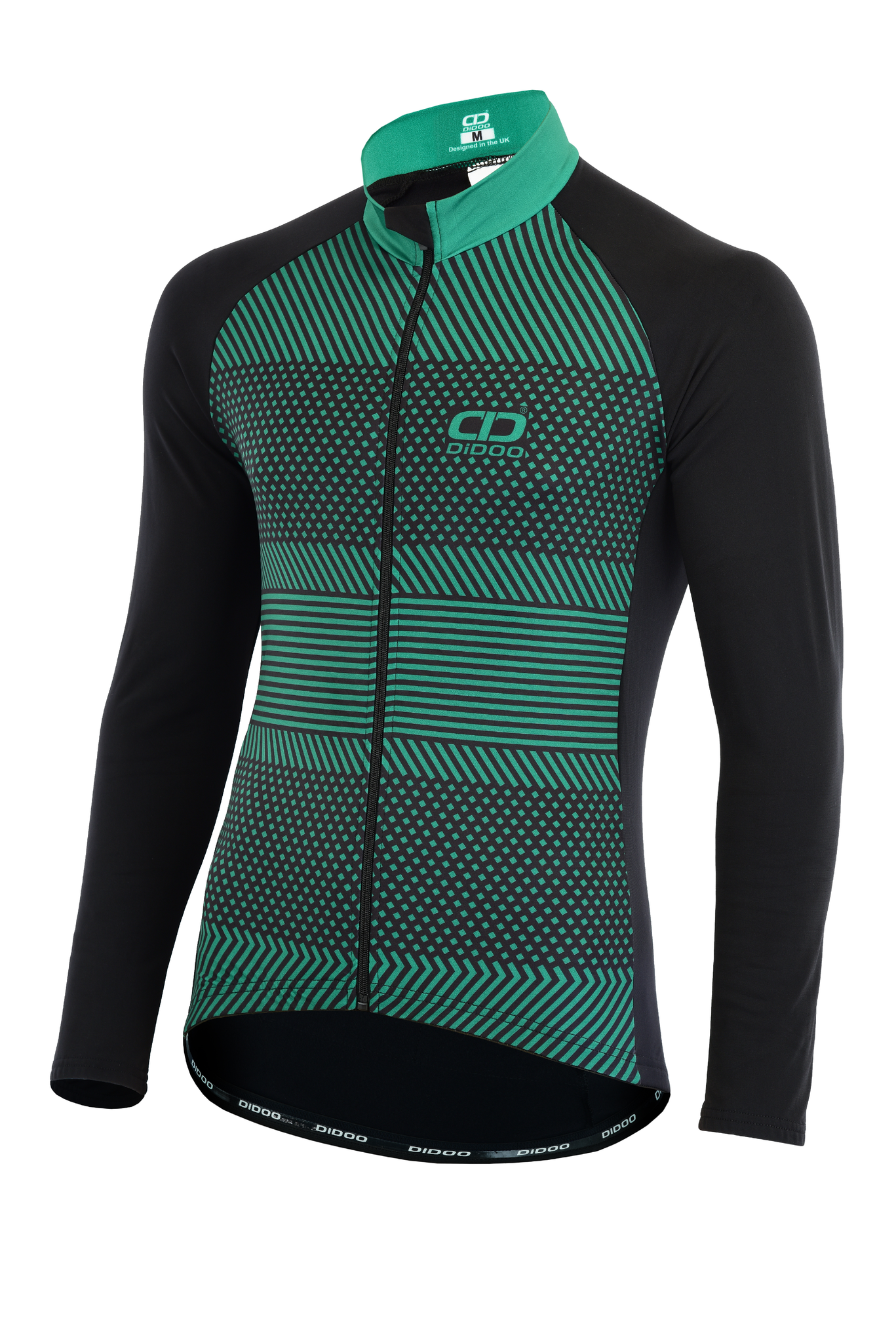 DiDOO Men's Pro long sleeve winter cycling jersey Black and Green