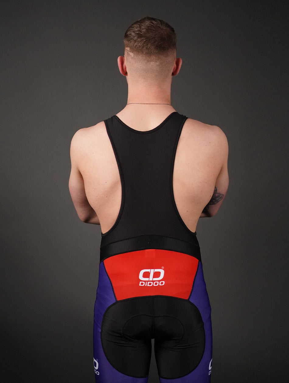 Men's Performance Cycling Bib Shorts Blue and Red