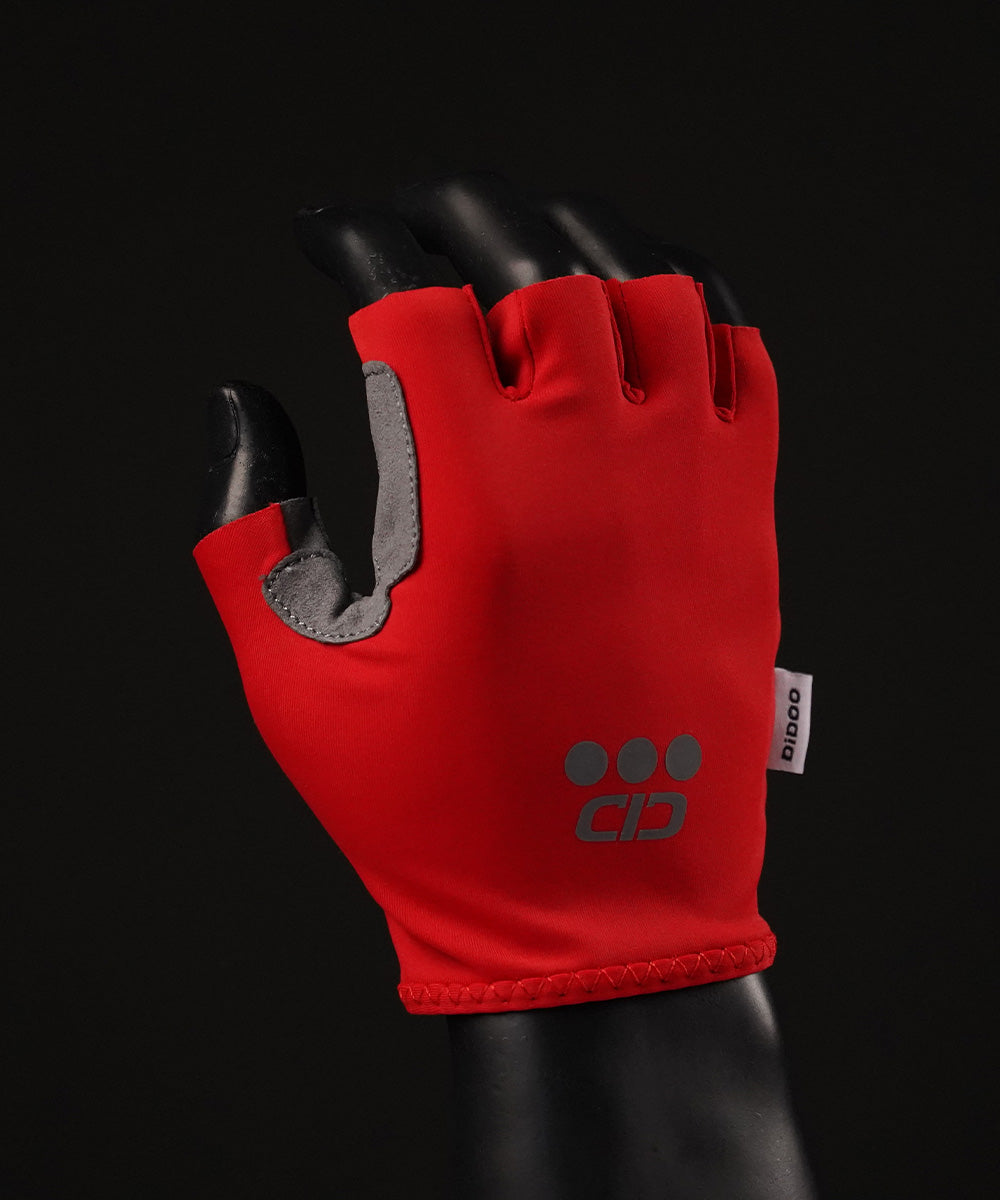 DiDOO Smart Pro Lightweight Short Finger Cycling Gloves Red Colour