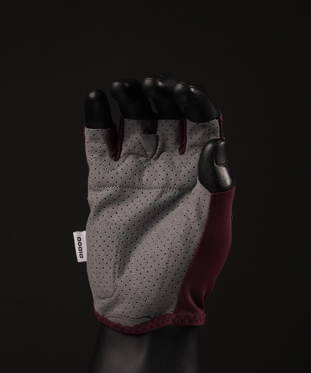 DiDOO Smart Pro Lightweight Short Finger Cycling Gloves Plum Colour