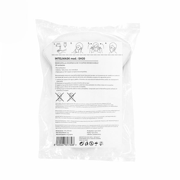 Masque Hygiénique Intelmask SH20 Soft Harness (Pack de 20)