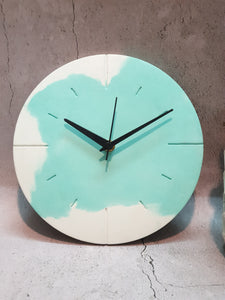 "Marbled 9""  Clock - White & Teal"