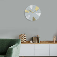 "Load image into Gallery viewer, Lux 9"" Clock -Light Grey - Gold & Silver"