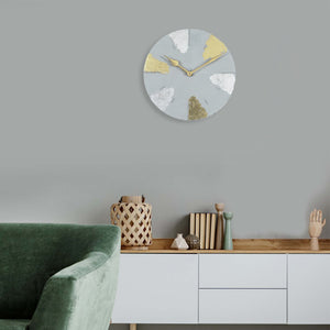 "Lux 9"" Clock -Light Grey - Gold & Silver"