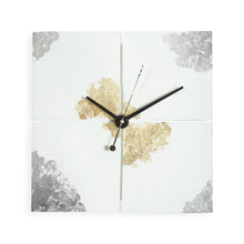 "Load image into Gallery viewer, Lux 12"" Square Clock - White, Gold & Silver"
