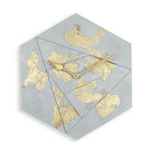 "Load image into Gallery viewer, Lux 12"" Hexa Clock Gold &  Light Grey"