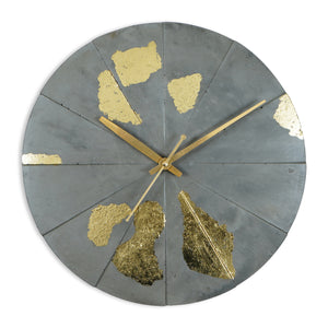"Lux 12"" Round Clock - Grey & Gold"