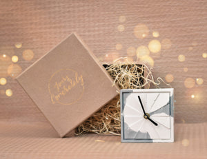 Table Clock - Elegance White&Grey