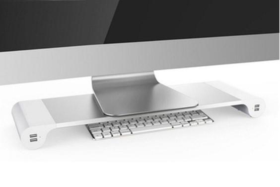 Aluminum Laptop and Monitor Stand with 4 USB Ports - TrendiaStore