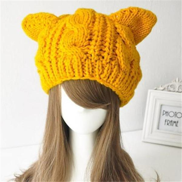 Cat Ear Knitting Wool Beanie Hat