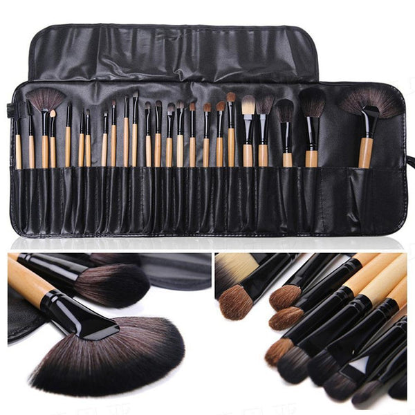 Makeup Brush Kit 24 Piece in Creme or Pink with Vegan-Leather Case