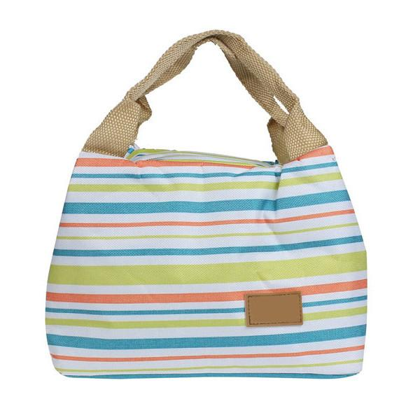 Thermal Insulated Striped Lunch Bag