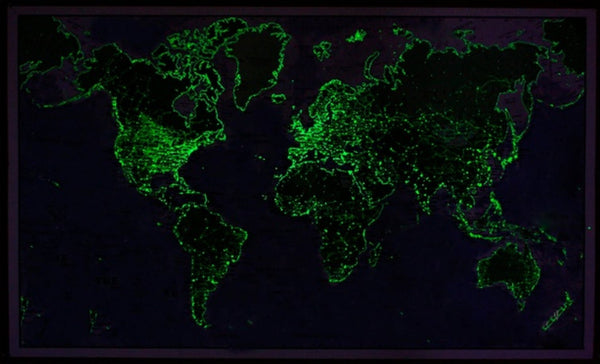 Glow-in-the-Dark World Map
