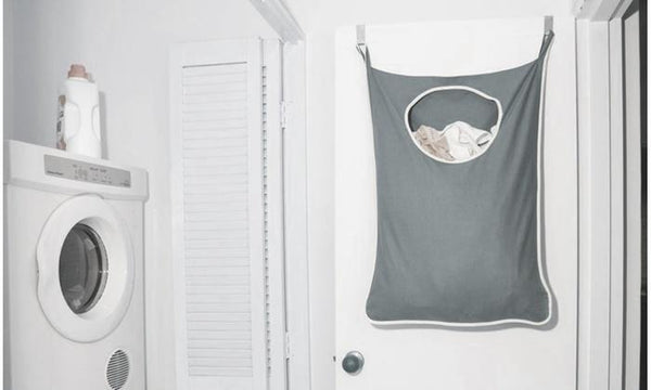 Door Hanging Laundry Hamper Bag With Stainless Steel Hooks