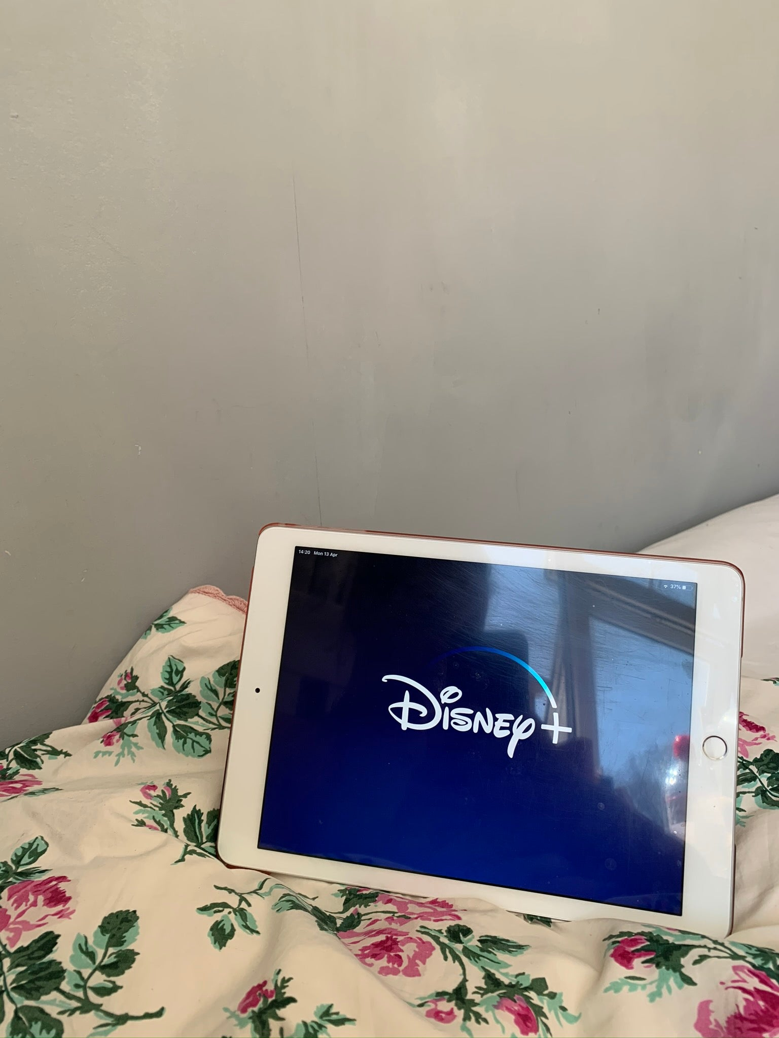 Disney + on an ipad in bed