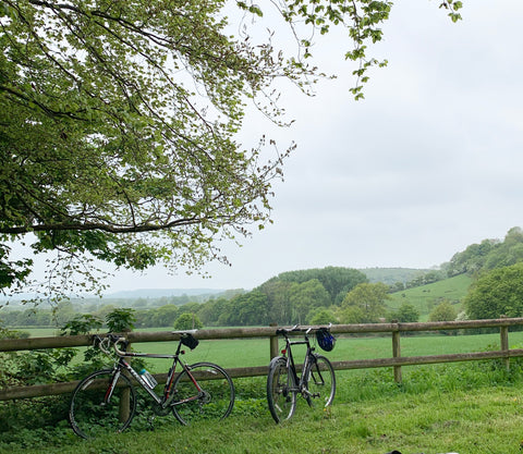 two bikes in beautiful english countryside