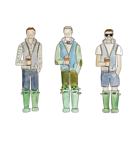 Men dressed in schofell gilets illustration