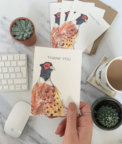 Mr Pheasant Thank You Postcards 6pck