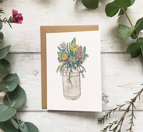 Spring Milk Churn Card
