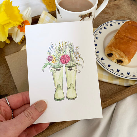 Spring Wellies Card