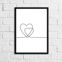 2 Hearts Simple Line Work Bedroom Wall Decor Print