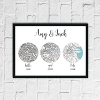Couple Personalised Hello, Yes & I Do Love Engagement Any Place Circle City Wall Decor Print