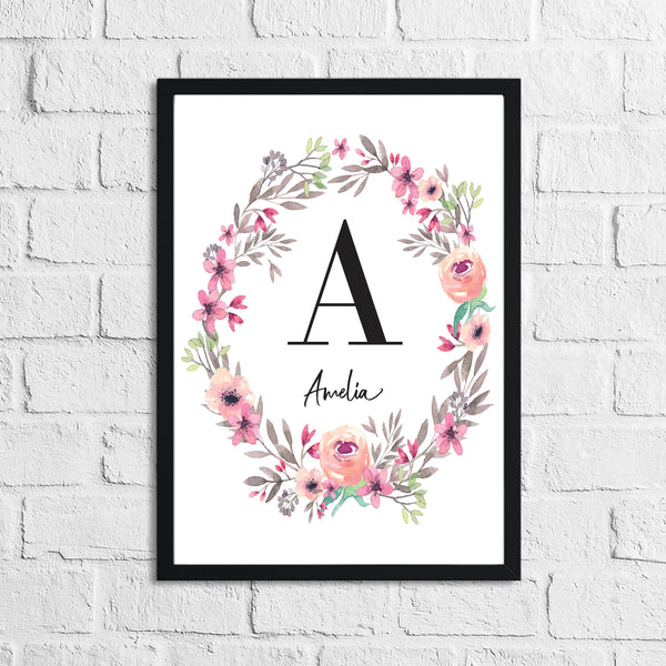 Personalised Pink Flower Wreath Name Children's Room Wall Decor Print