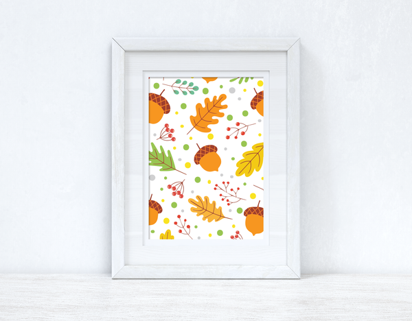 Autumn Fall Leaves Autumn Seasonal Wall Home Decor Print