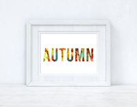 Autumn Bold Colourful Leaves Background Autumn Seasonal Wall Home Decor Print