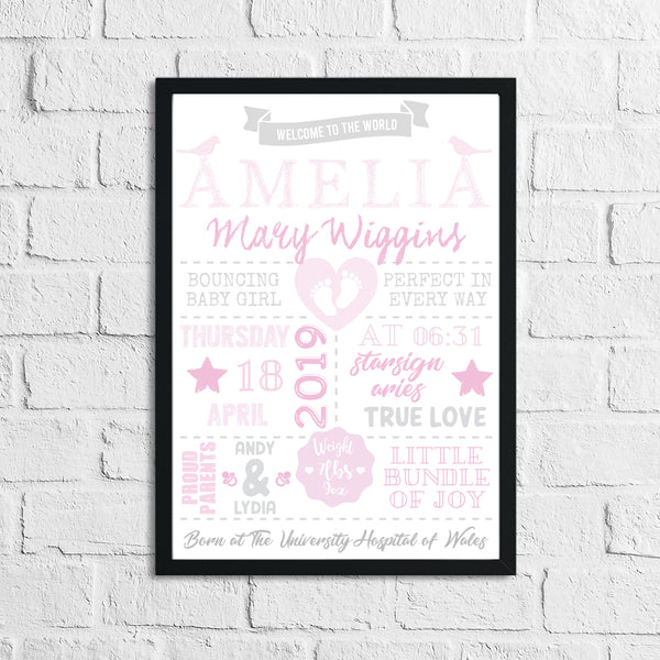 Personalised Baby Girl's Birth Pink Children's Bedroom Room Wall Decor Print