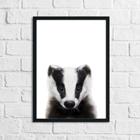 Badger Animal Woodlands Nursery Children's Room Wall Decor Print