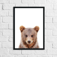 Bear Animal Woodlands Nursery Children's Room Wall Decor Print