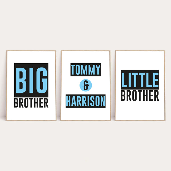 Big Brother Little Brother Name Children's Bedroom Wall Decor Set Of 3 Prints