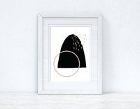 Beige & Black Abstract 1 Colour Shapes Home Wall Decor Print