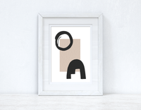 Beige & Black Abstract 2 Colour Shapes Home Wall Decor Print