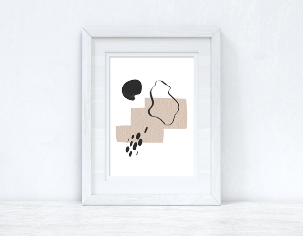 Beige & Black Abstract 3 Colour Shapes Home Wall Decor Print