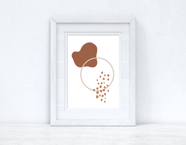 Beige & Terracotta Brown Abstract 5 Colour Shapes Home Wall Decor Print