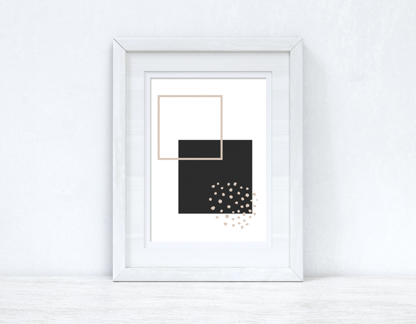 Beige & Black Abstract 5 Colour Shapes Home Wall Decor Print