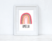 Bright Pinks Rainbow Name Boho Children's Room Wall Bedroom Decor Print