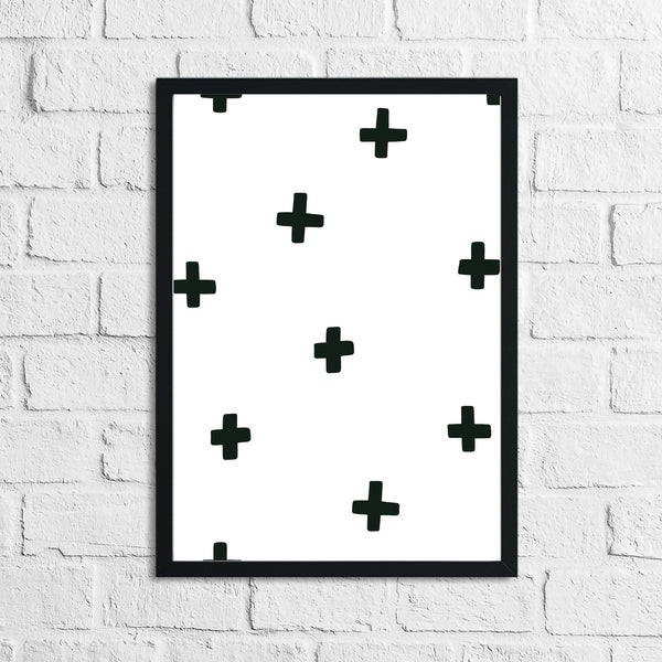 Scandinavian Crosses Pattern Children's Nursery Bedroom Wall Decor Print